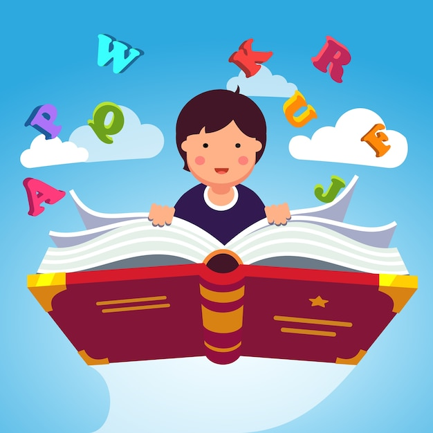 Menino estudante voando em um livro mágico abc abc Vetor grátis