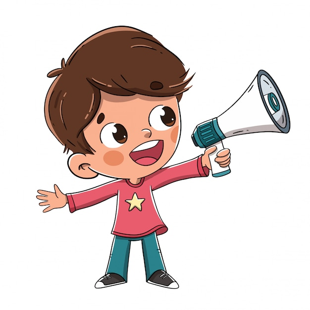 Menino, falando, com, um, megafone, ou, orador Vetor Premium
