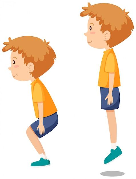 Menino, fazendo, pular, exercícios Vetor grátis