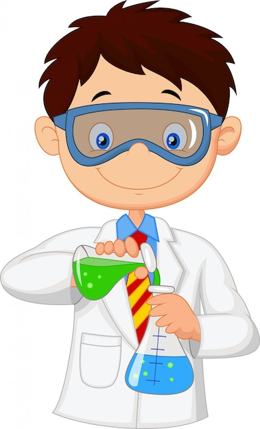 Menino, fazendo, químico, experiência Vetor Premium
