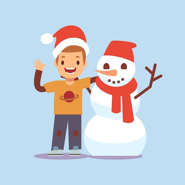 Menino feliz e boneco de neve. personagens de desenhos animados de festa de natal Vetor Premium