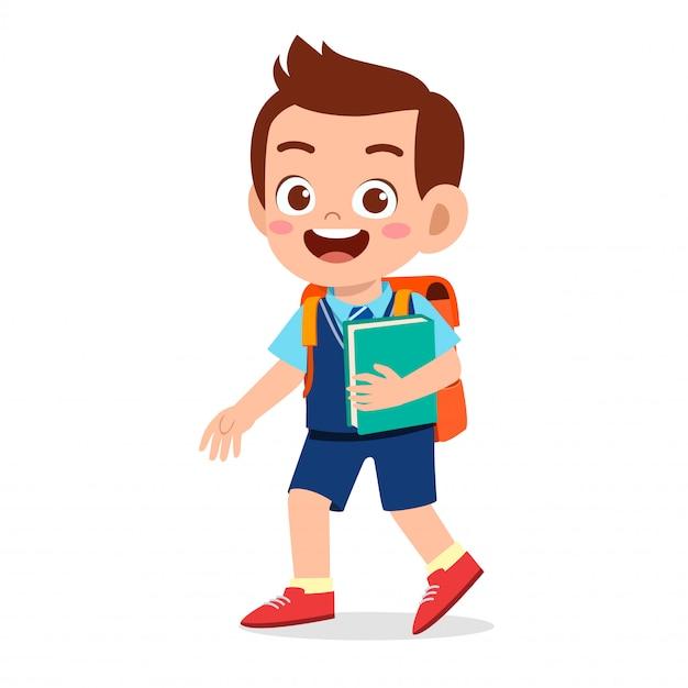 Menino feliz garoto bonitinho pronto para ir para a escola Vetor Premium