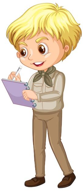 Menino feliz no uniforme de safari escrevendo notas isoladas Vetor grátis