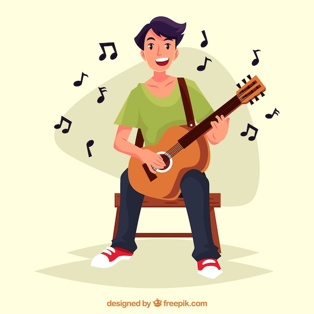 Menino feliz tocando a guitarra Vetor grátis