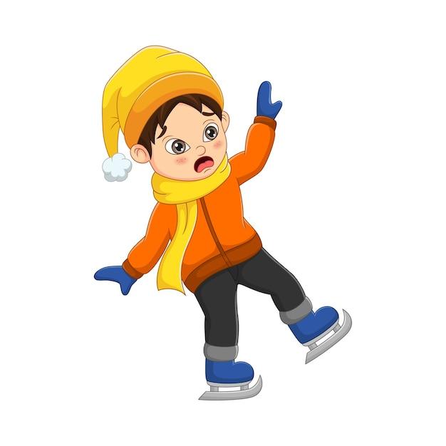 Menino fofo com roupas de inverno caiu patinando no gelo Vetor Premium