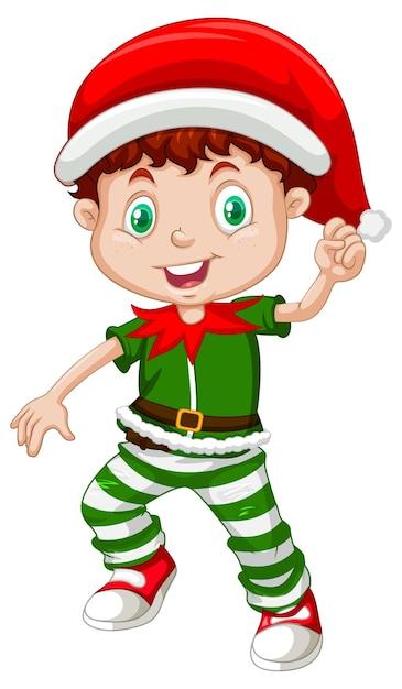 Menino fofo vestindo fantasias de natal personagem de desenho animado Vetor grátis
