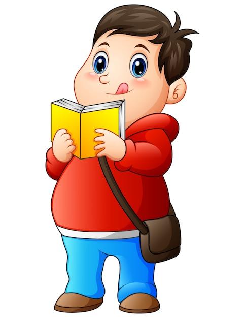 menino gordo dos desenhos animados na camisola lendo um livro