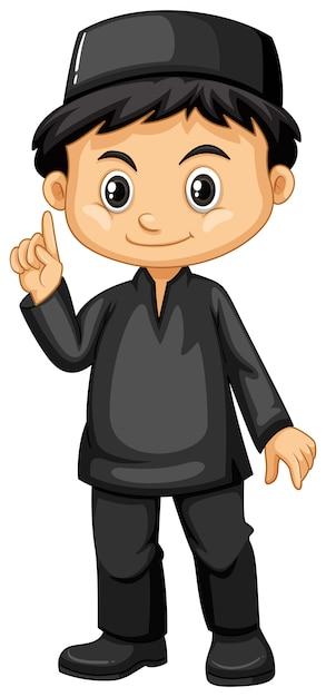 Menino indonésio em roupa preta Vetor grátis