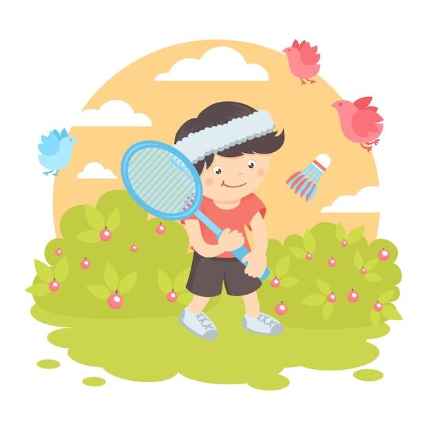 Menino jogando badminton Vetor grátis