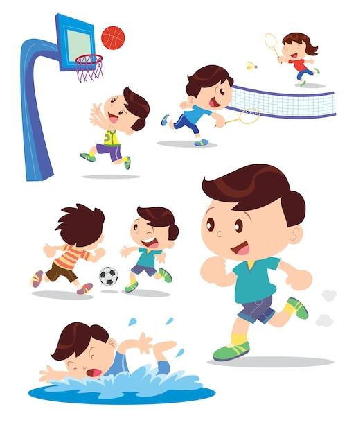 Menino jogar esporte muitos ação Vetor Premium