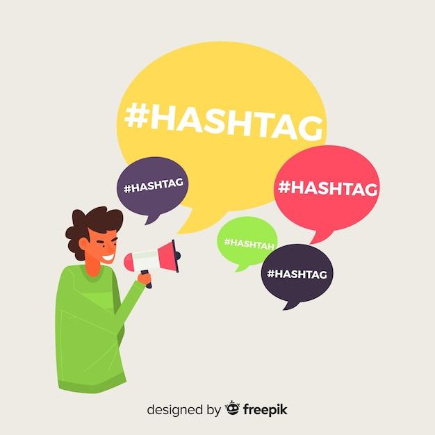 Menino jovem, com, hashtag, símbolo Vetor grátis