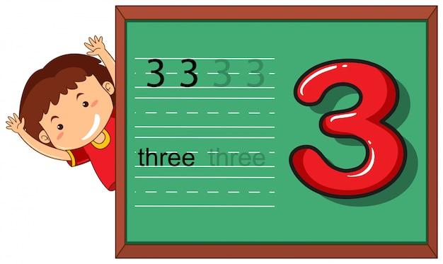 Menino, ligado, numere três, planilha Vetor grátis
