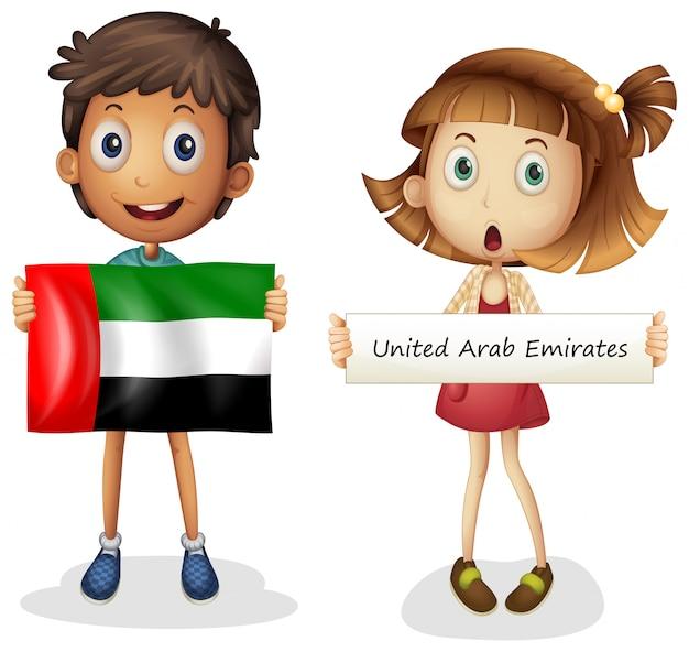 Menino menina, com, bandeira, de, emirates árabes unidos Vetor grátis