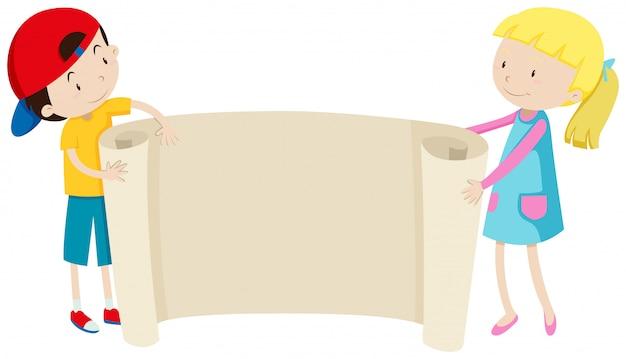 Menino menina, segurando papel Vetor grátis