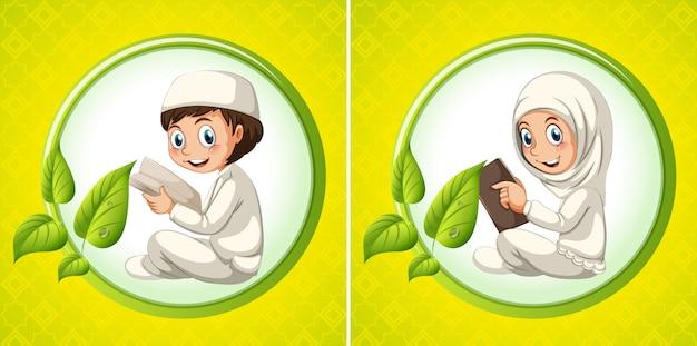 Menino muçulmano, e, menina, livro leitura Vetor grátis