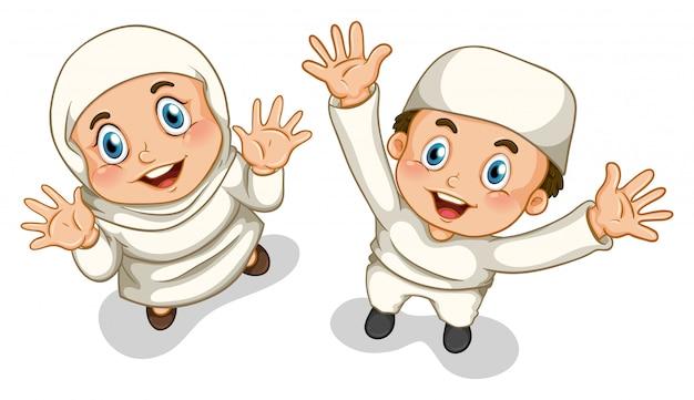 Menino muçulmano e menina Vetor grátis