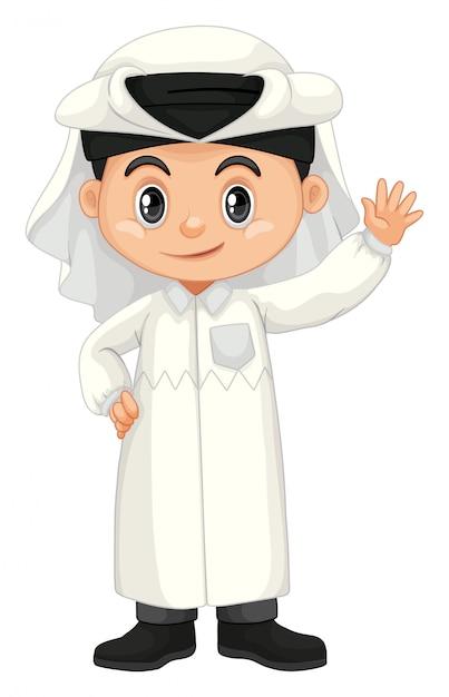 Menino no traje do qatar, acenando a mão Vetor grátis
