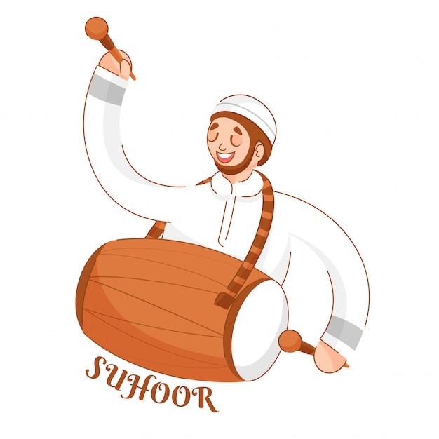 Menino novo muçulmano que joga dhol (cilindro) no fundo branco para a celebração do tempo de suhoor. Vetor Premium