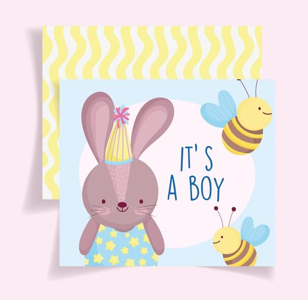 Menino ou menina, o gênero revela seu cartão bonito das abelhas do coelho Vetor Premium