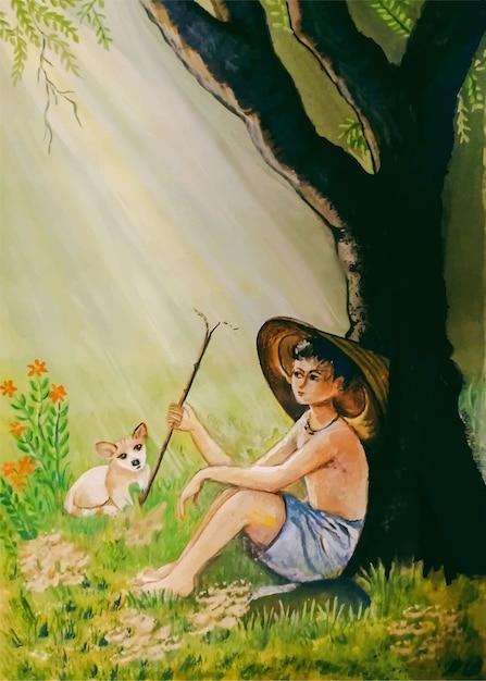 Menino pecuarista desenhado à mão em aquarela com ilustração de gato Vetor Premium