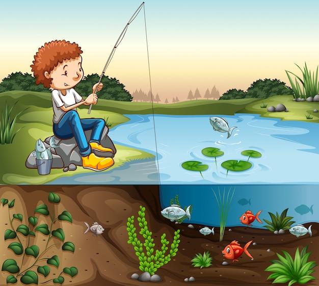 Menino, pesca, por, a, rio Vetor grátis