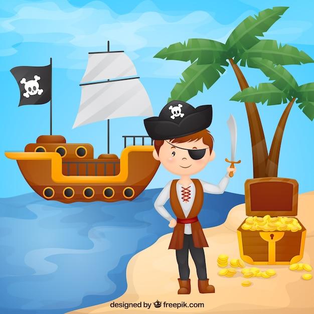 Menino pirata no fundo da praia Vetor grátis