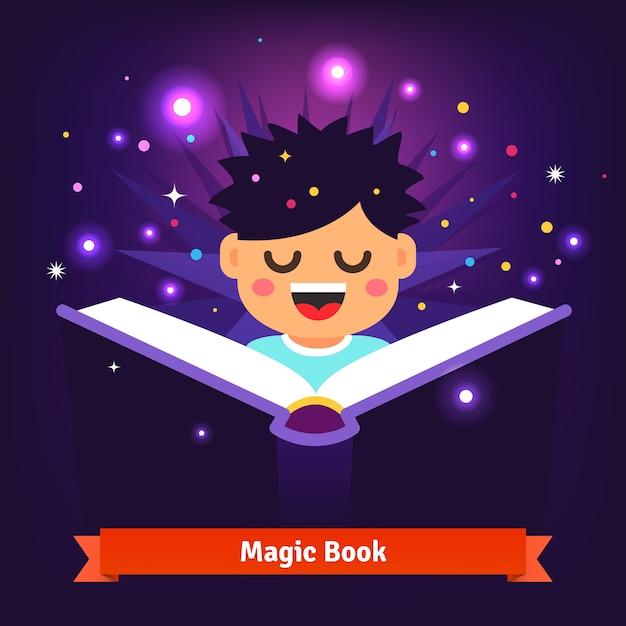 Menino que lê o livro mágico mágico, que brilha Vetor grátis