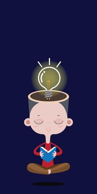 Menino que lê um livro, a ampola brilhante sobre a cabeça. conceito de desenho de vetor Vetor Premium