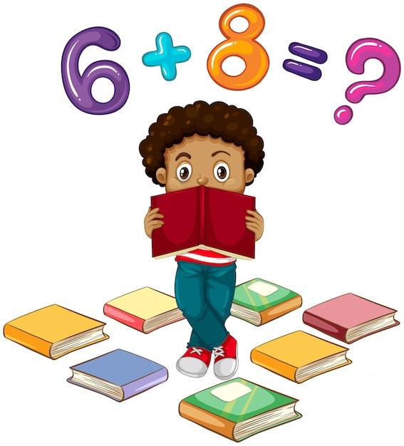 Menino, resolvendo, matemática, problema Vetor grátis