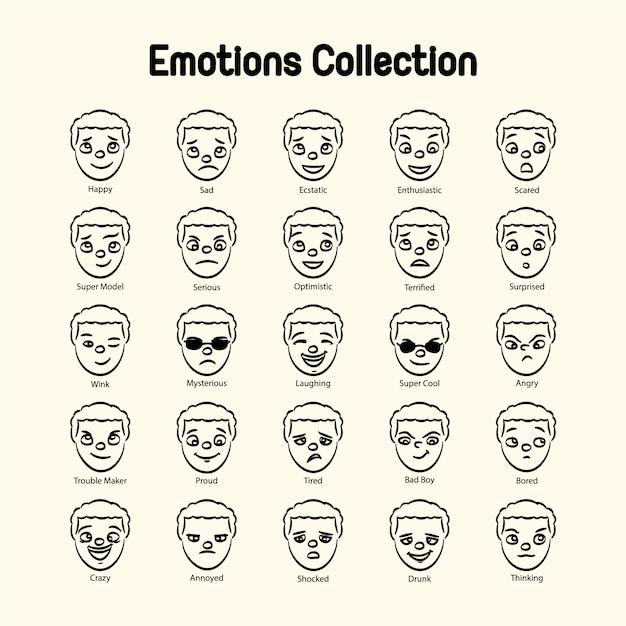 Menino, rosto, emoções, cobrança Vetor grátis