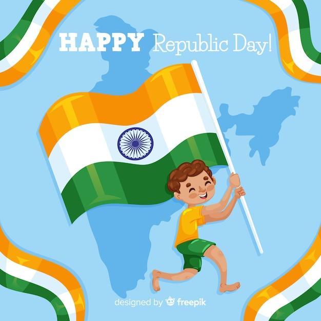 Menino, segurando, bandeira, índia, independência, dia, fundo Vetor grátis