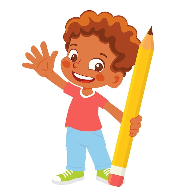 Menino segurando um clipart de lápis Vetor Premium