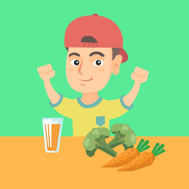 Menino sentado à mesa com suco de cenoura fresca. Vetor Premium