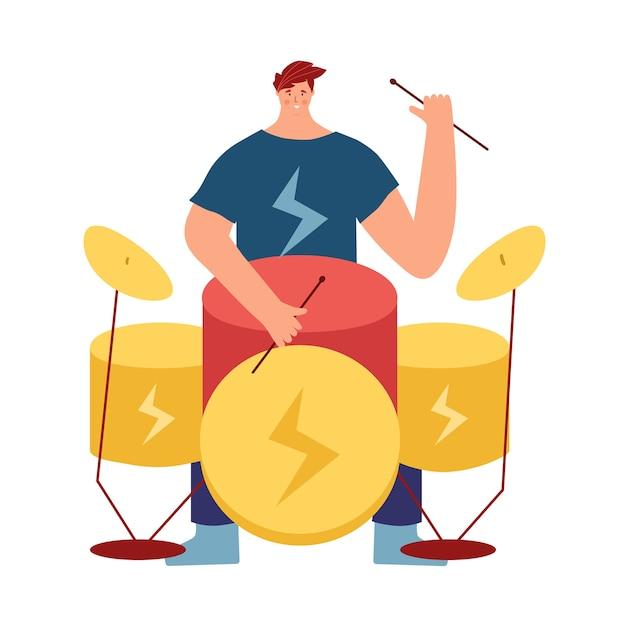 Menino tocando um instrumento musical. um homem toca rock na bateria. Vetor Premium