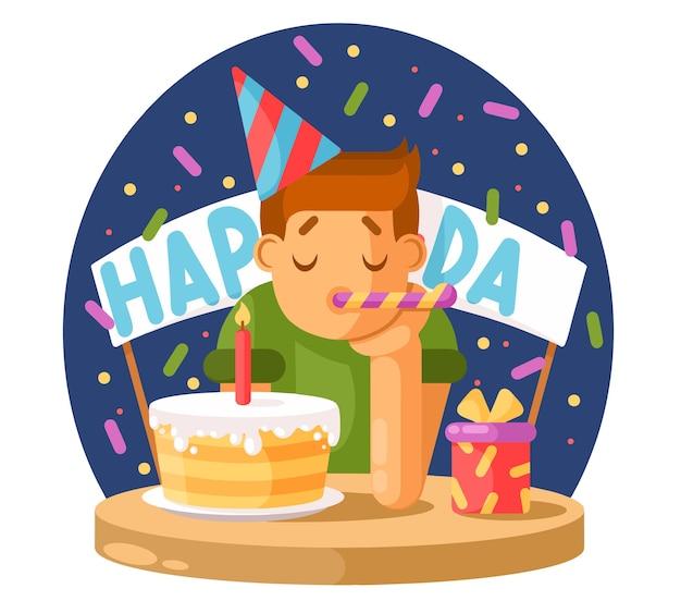 Menino triste e um bolo de aniversário. Vetor Premium