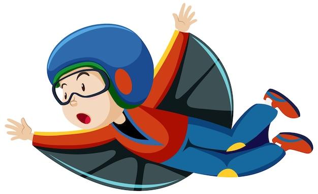 Menino vestindo fantasia de vôo com personagem de desenho animado de posição de vôo isolado no fundo branco Vetor grátis