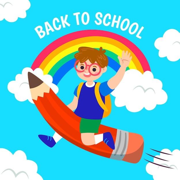 Menino voando em um lápis de volta ao conceito de escola Vetor grátis