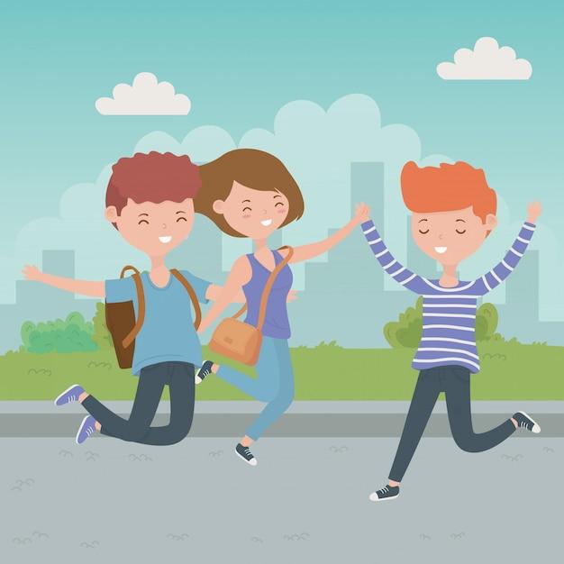 Meninos adolescente e menina dos desenhos animados Vetor grátis
