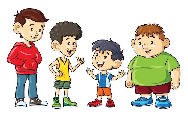 Meninos de desenho animado são gordos, magros, altos e baixos. Vetor Premium