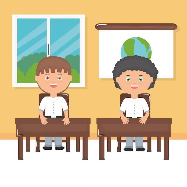Meninos de estudante bonitinho na sala de aula Vetor grátis