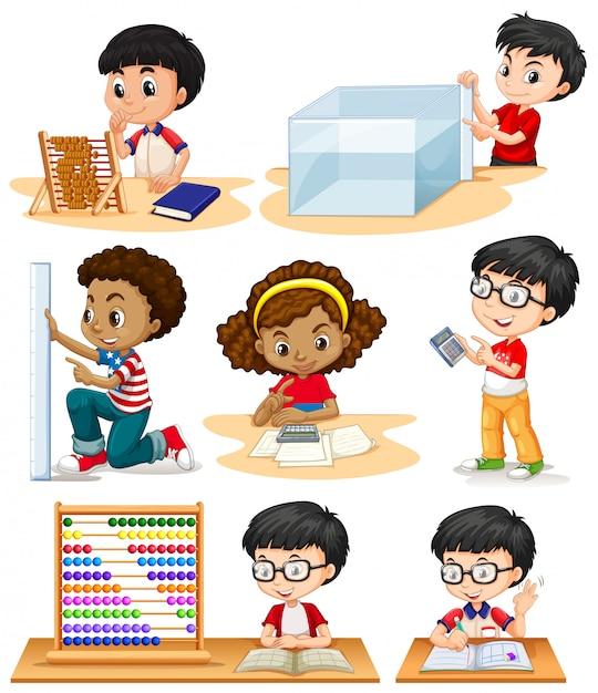 Meninos e menina fazendo problemas de matemática Vetor grátis