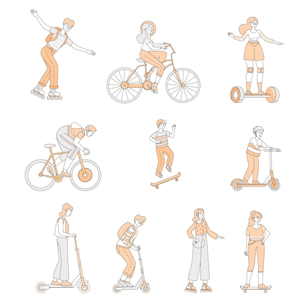 Meninos e meninas andando no transporte pessoal moderno. pessoas com patins, bicicletas, skates. Vetor Premium