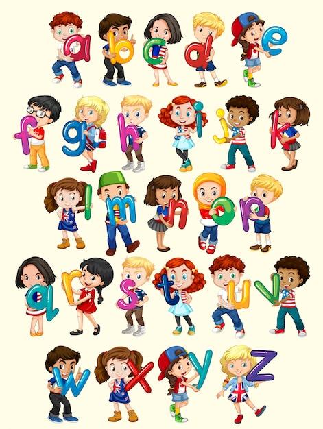 5 Letter Cartoon Characters : Meninos e meninas com ilustração do alfabeto inglês