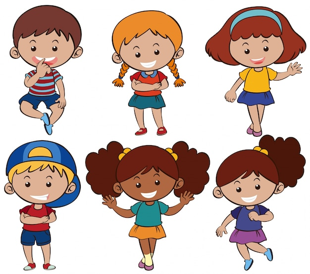 Meninos e meninas com sorriso feliz Vetor grátis