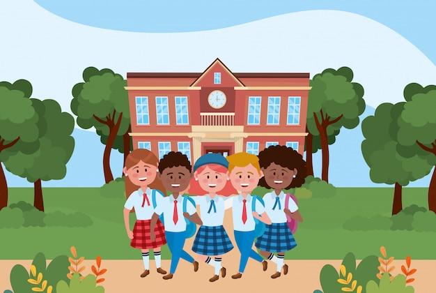 Meninos e meninas crianças da escola Vetor grátis