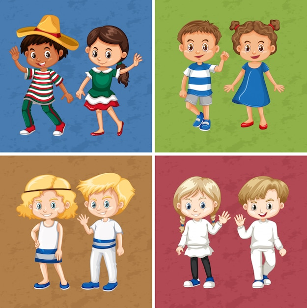 Meninos e meninas em quatro cores diferentes Vetor grátis