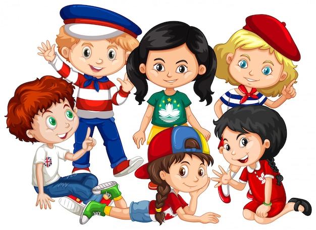 Meninos e meninas juntos em grupo no fundo branco Vetor grátis