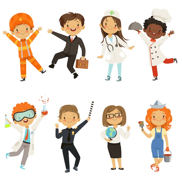 Meninos jovens, meninas, de, diferente, profissões Vetor Premium