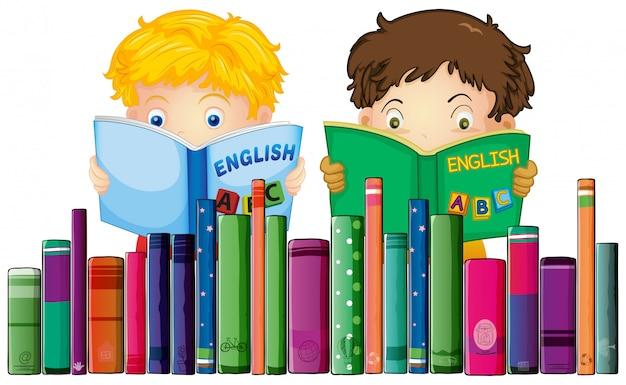 Meninos, leitura, livro inglês Vetor Premium