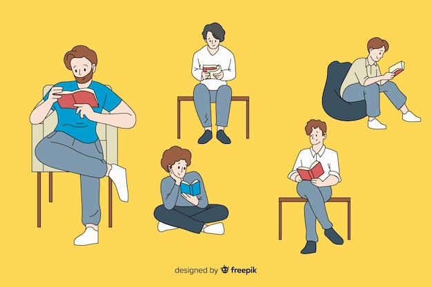 Meninos lendo no estilo de desenho coreano Vetor grátis